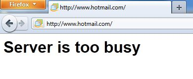 Hotmail Server is too busy Hotmail.com caido Server is too busy