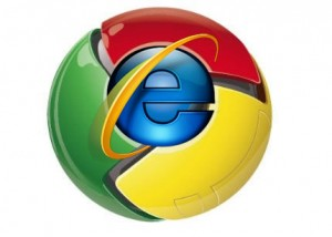 IE Chrome1 300x214 Reproductores de MP3, iTunes sigue creciendo, Warner y YouTube cerca nuevamente, Bye bye .yu, Microsoft molesto con Google